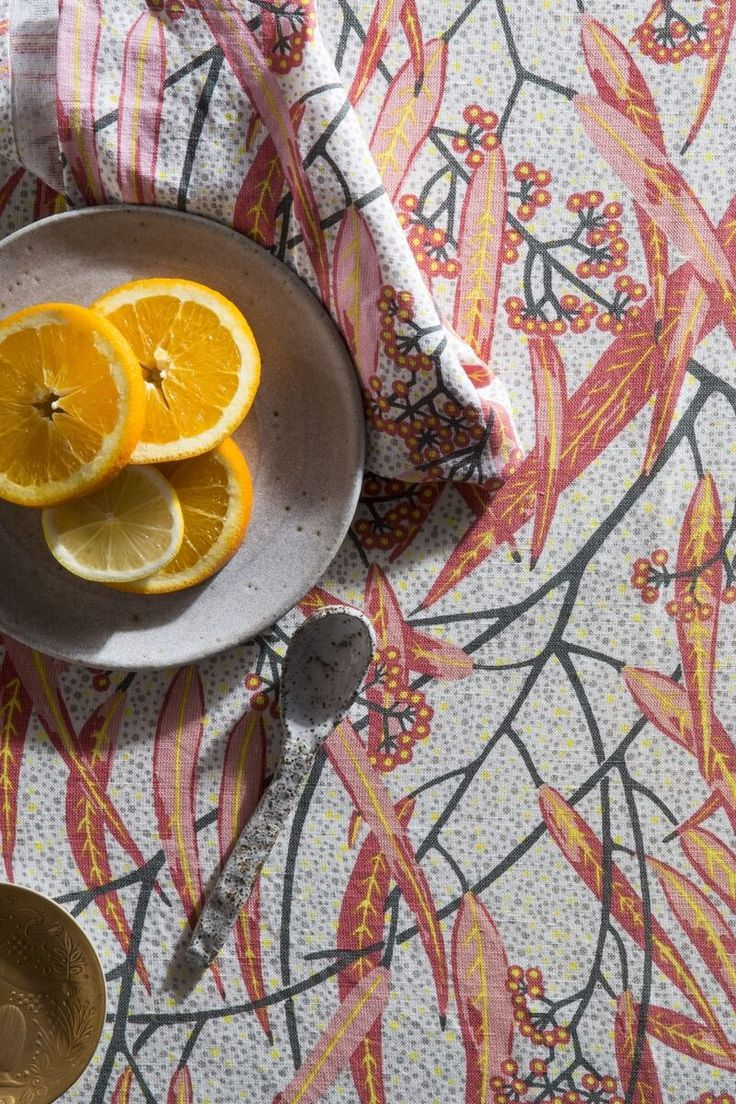 Utopia Goods - Painted and gorgeous, the long sickle-shaped leaves of our Eucalyptus - Blossom print travel across the fabric in a perfect repeat pattern.   www.utopiagoods.com