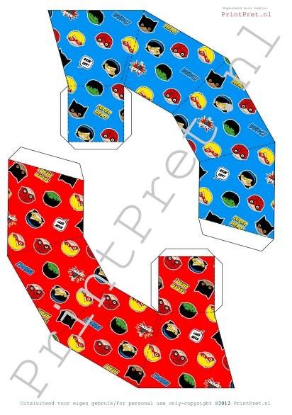 Superhelden chips bakjes. Onderdeel van het te downloaden Superhelden traktatie pakket van PrintPret. http://printpret.nl/Superheld%20feestpakket
