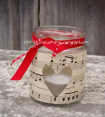 Sheet music candle wrap.... Valentine teacher gift...