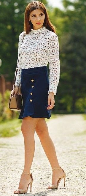 White Lace Top + Navy Nautical Skirt                                                                             Source