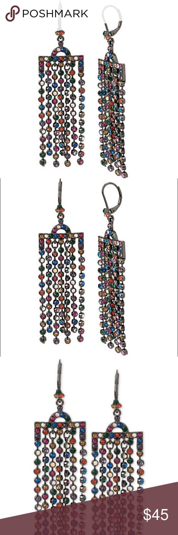 """Betsey Johnson earrings Betsey Johnson dangle chandelier earrings, multicolor stones, so pretty! New. The Art Deco inspired chandelier shape features swingy, rainbow fringe for a playful, vintage look. Hematite tone fringe chandelier with mixed multi colored stones     Euro wire     Bright hematite     Metal/glass     Length: 3.5""""     Width: 1"""" Betsey Johnson Jewelry Earrings"""