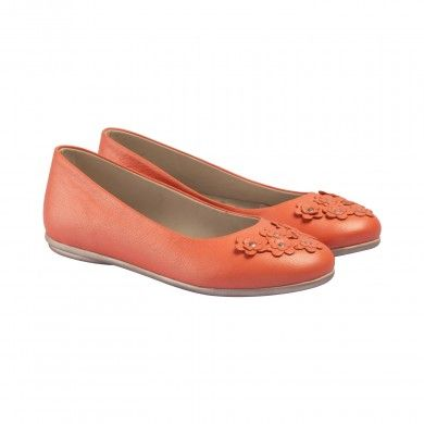 Classic Ballerinas - Coral   A classic ballerina is a shoe staple for every girl. These clean-cut ballerinas are embellished with pretty daisies on the toe and made with fine-grained soft Napa leather, which give the shoes an understated sheen. The laser cut leather flower embellishments are detailed with metallic studs in the center.