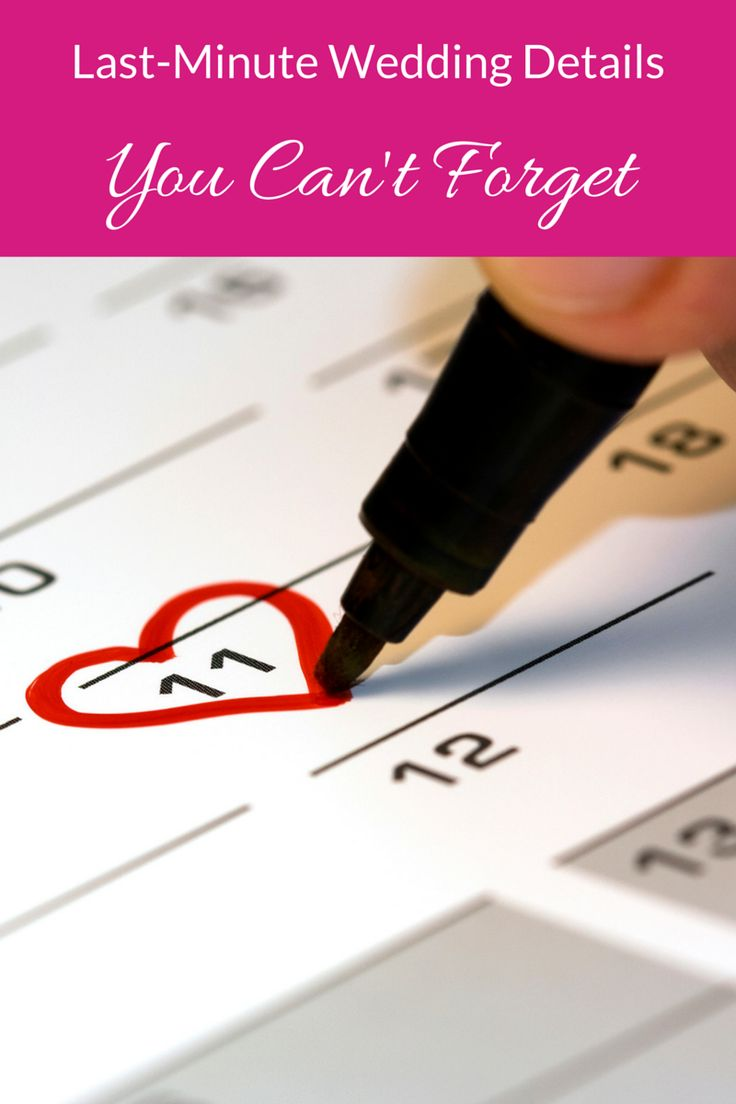 Last minute wedding details you can't forget! Super helpful tips!