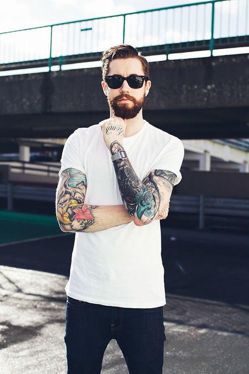 Denim + white tee + colorful sleeves ♡ Tattoos Beard