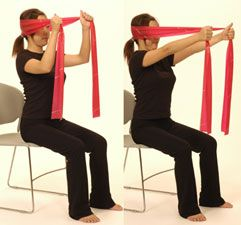 Cervical Extension Isometric - place band around back of head. Grasp ends of band in front of head. Keep neck neutral and chin slightly tucked. Extend elbows stretching band in front of you.