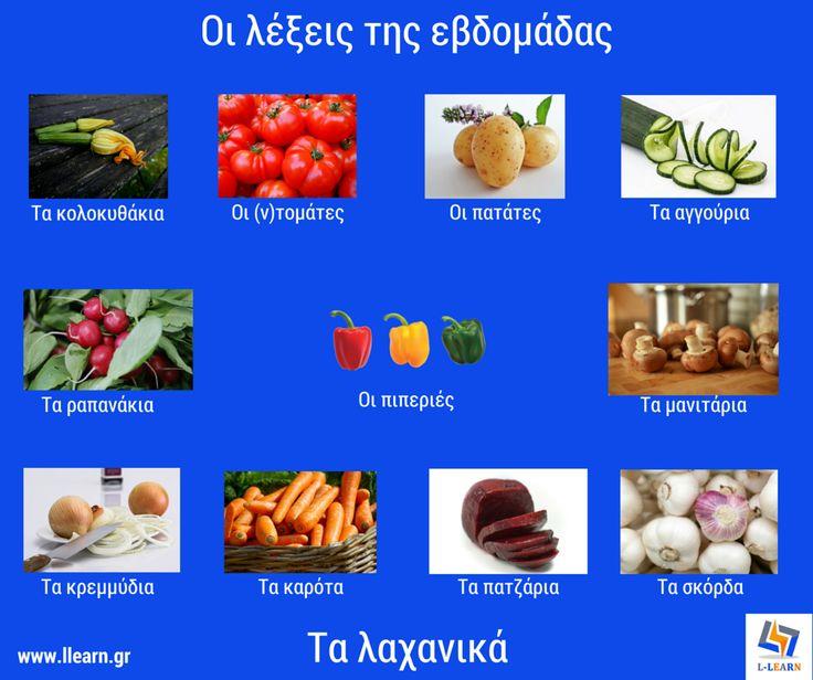 Τα λαχανικά.  #λέξεις #Ελληνικά #ελληνική #γλώσσα #λεξιλόγιο #Greek #words #Greek #language #vocabulary