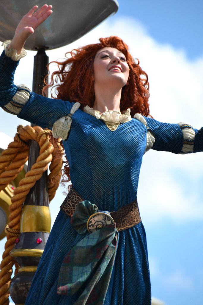 Princess Merida from Disney Pixar's Brave at the Festival of Fantasy parade in the Magic Kingdom at Walt Disney World