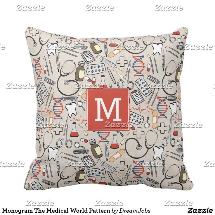Monogram The Medical World Pattern. Producto disponible en tienda Zazzle. Decoración para el hogar. Product available in Zazzle store. Home decoration. Regalos, Gifts. #cojín #pillows