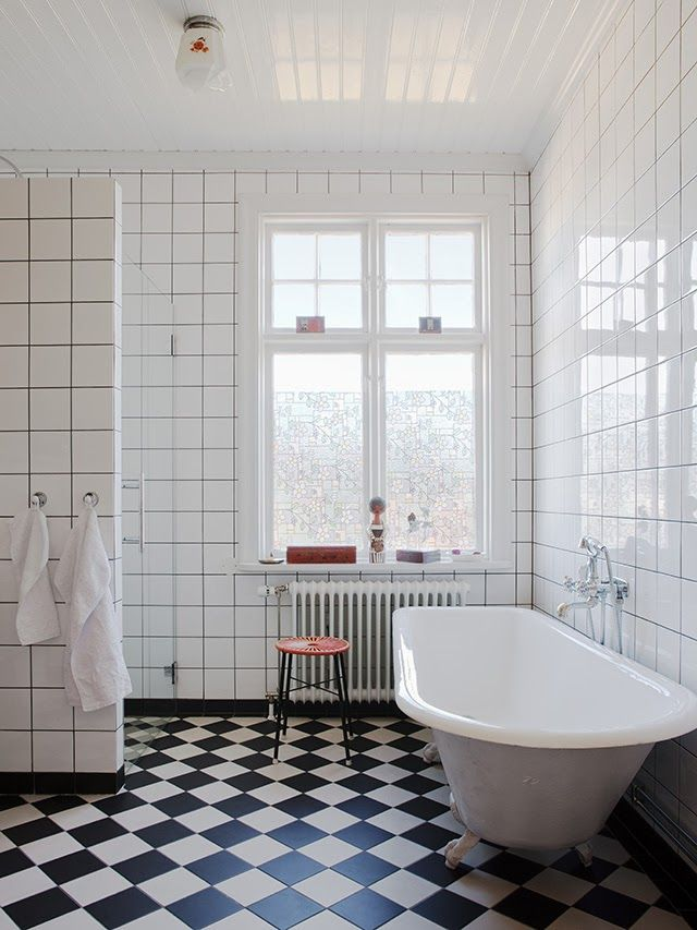 I've always loved the classic monochrome tiles on the bathroom floor.