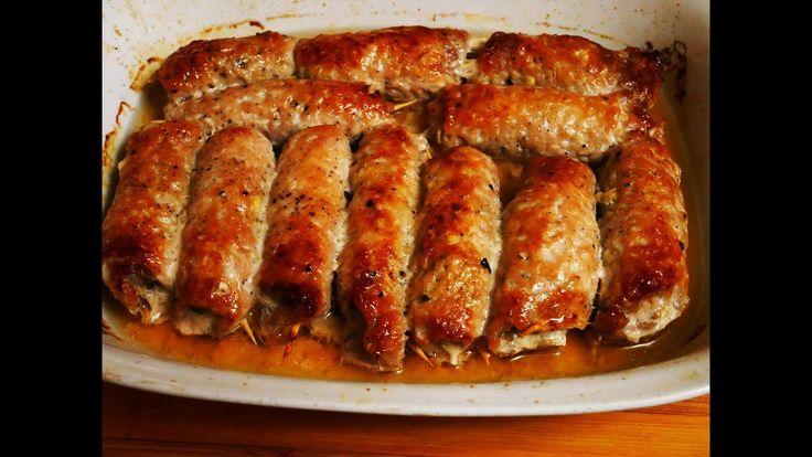 РУЛЕТИКИ из свинины с грибами и соленым огурцом запеченные в духовке МЯС...
