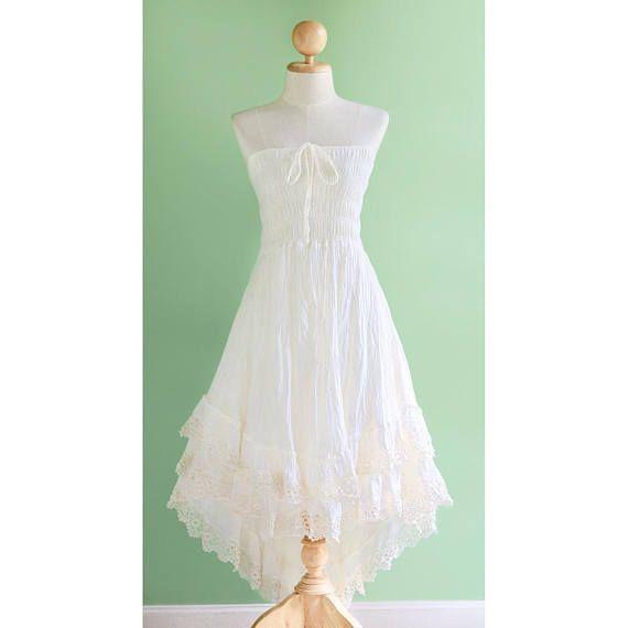 Boho Summer Strapless Dress Beach Wedding Dress Smocked