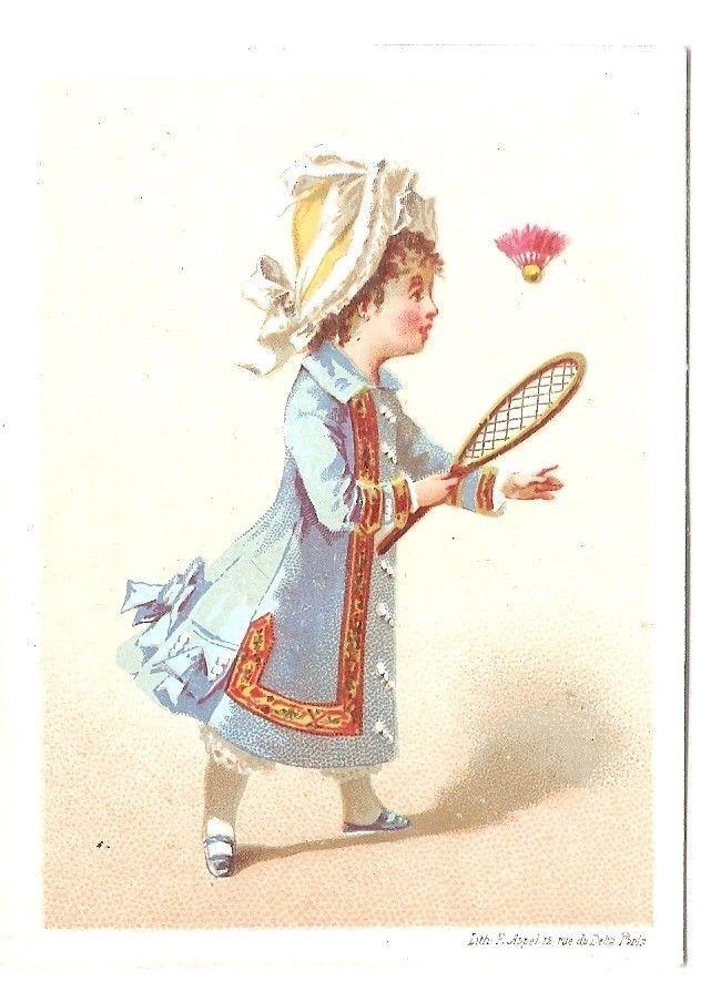Fillette jeu Volant Badminton - Appel - Chromo Royal Windsor - Trade Card