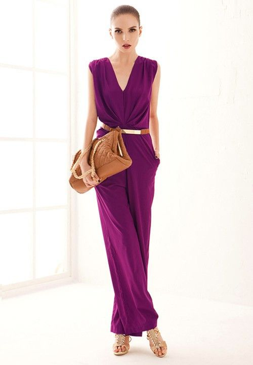 This in peach double belted more flow formal jumpsuit for Bebe dresses wedding guest
