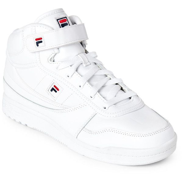 Fila White BBN 86 High Top Sneakers ($45) ❤ liked on Polyvore featuring shoes, sneakers, white, high-top sneakers, white lace up sneakers, velcro sneakers, velcro high-top sneakers and white hi tops