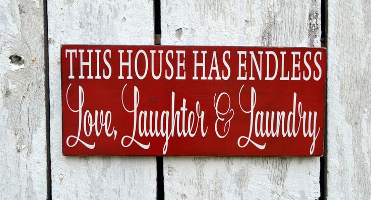 Laundry Room Decor, Laundry Sign Red Custom Colors Hand Painted Wall Art This House Has Endless Love Laughter Laundry Farmhouse French Chic
