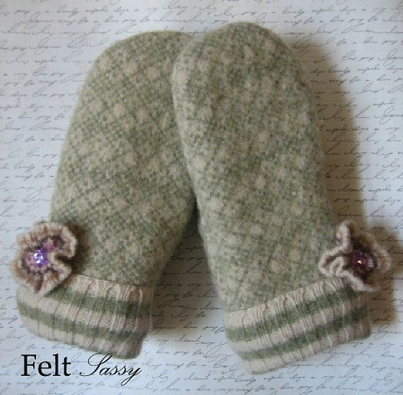 Women's Felted Mittens  Floral  Fully Lined  Recycled by FeltSassy, $32.00