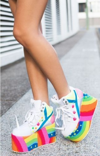 Qozmo-licorne-Hi-Top-Baskets-japonais-Rainbow-Buffalo-Bottes-Taille-6