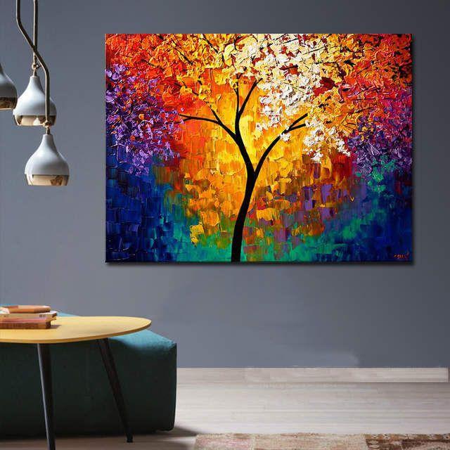 Brillante Árbol de la vida pintura hecha a mano abstracto moderno pintura al óleo sobre lienzo arte de pared decoración del hogar regalo No enmarcado FC011