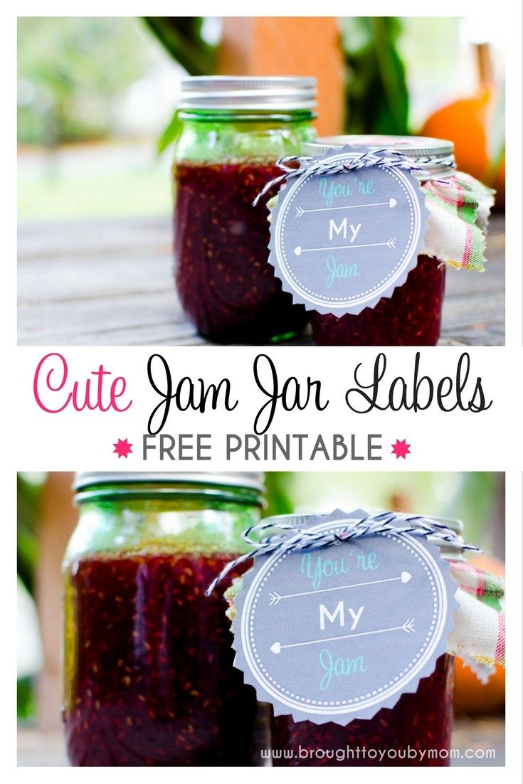 """Cute Jam Jar Labels that are FREE to print. Show someone """"You're My Jam"""" with these great canned jelly jar labels for gifts."""