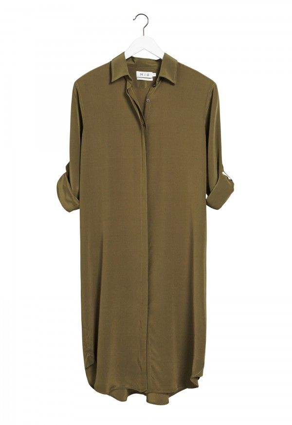 http://www.mih-jeans.com/home/ The EXTRA LONG OVERSIZE Shirt - Women's shirt - KNEE LENGTH LONG SHIRT - Army Silk - MiH