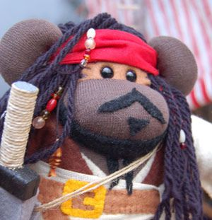 Captain Jack Sparrow Johnny Depp Pirate Sock Monkey