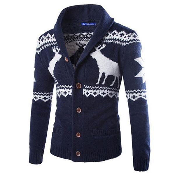 2015 New Fashion Winter Christmas Sweaters Men Cardigan Single Breasted Casual Slim Mens Sweaters With Deer Pattern Knitwear