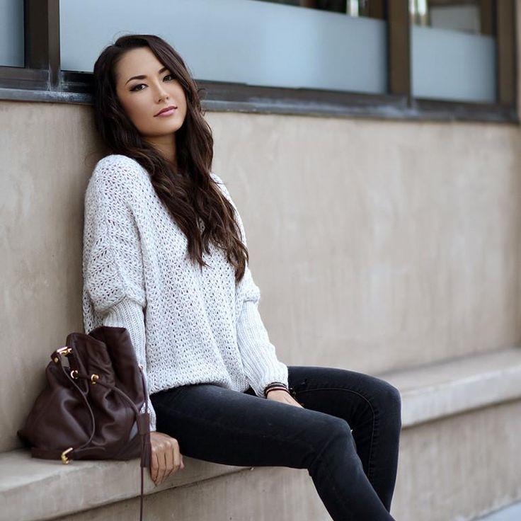 Mature female style love print sweater