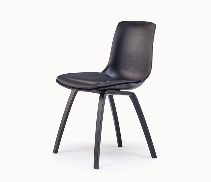 Retro moulded black-seated dining chair