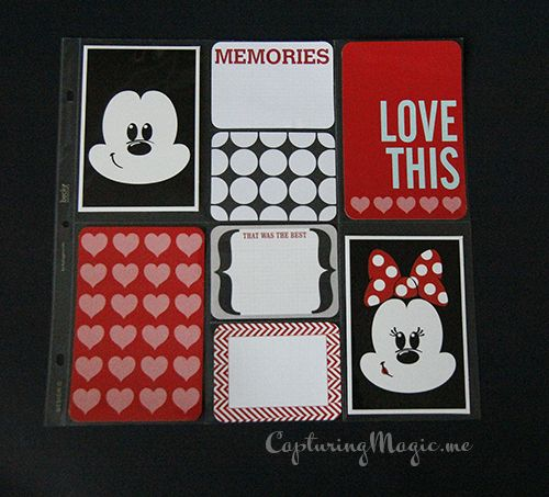 Mickey and Minnie Disney Artist cards Two; Project Life Honey and Wellington Editions. Great for an easy scrapbook page layout idea.