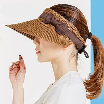 Adjustable Wide Brim Straw Hats Hollowed-out Top For Women  #pompier #tattoos #technology family home, family travel, family christmas