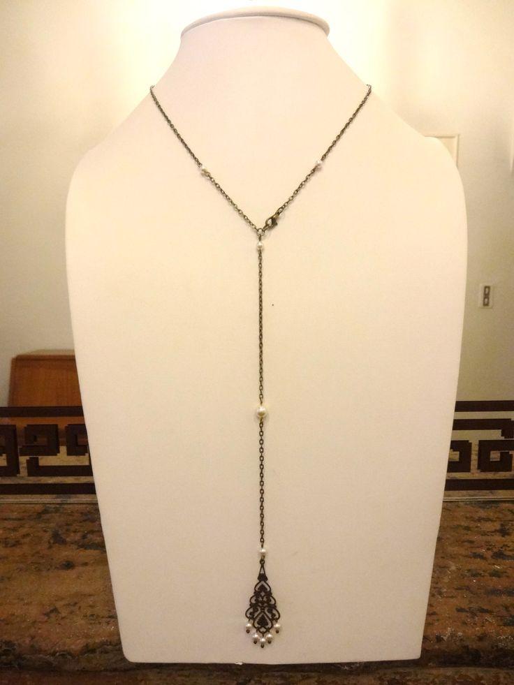 Bijou de dos pour mariage style retro perles swarovsky avec estampe arabesque ajourée bronze : Collier par les-bijoux-d-aki