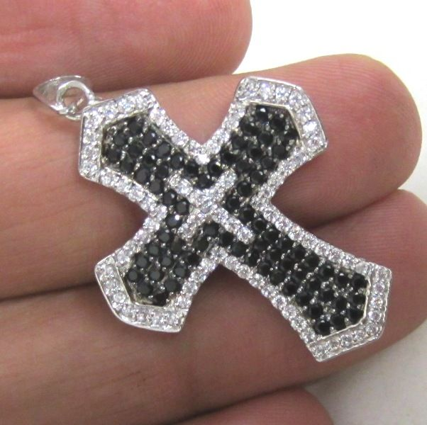 1.44 ct natural black and white diamonds jesus cross pendant made in 14k white gold