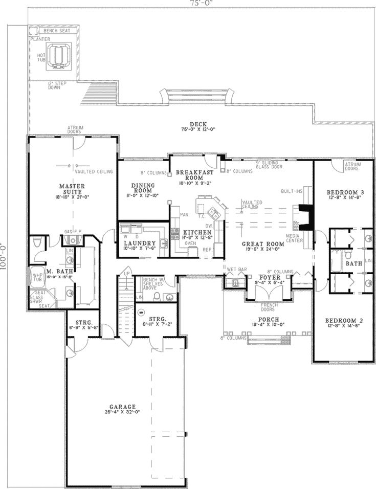 Southern House Plan First Floor - 055D-0317 | House Plans and More. I'd turn the dining room into one big walk in pantry and extend the front porch all the way across.