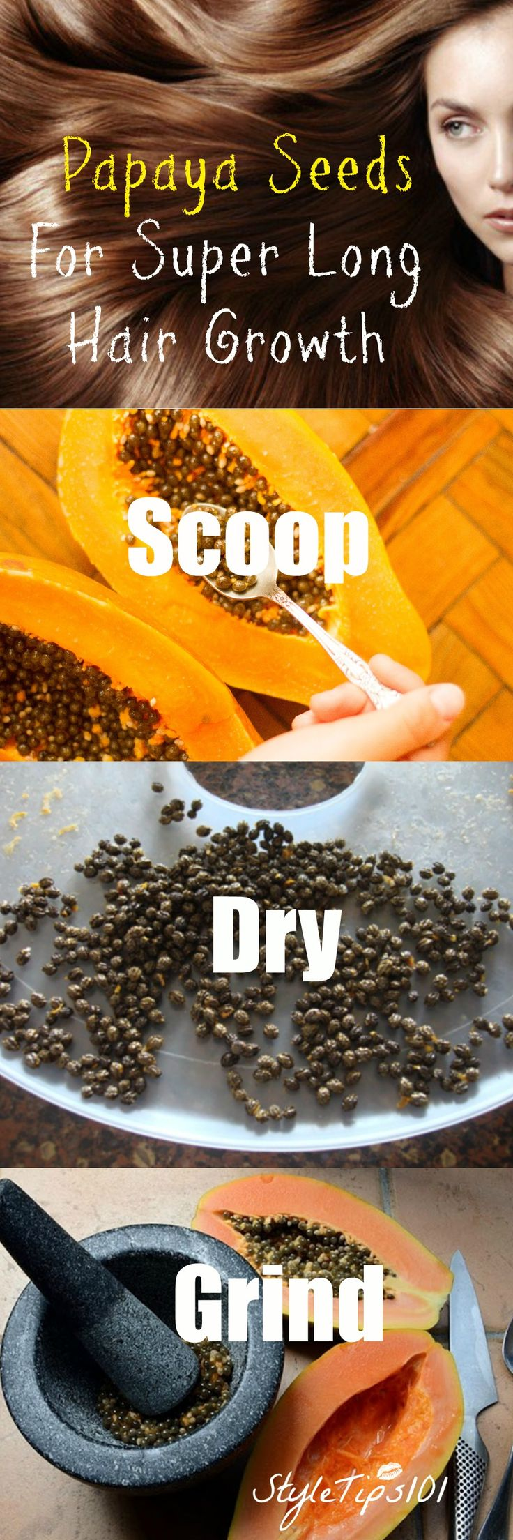 Scoop them out, dry them, mash them, and add the papaya seed powder directly to your shampoo bottle!