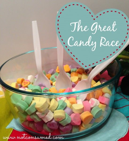 The Great Candy Race. Conversation hearts at their best! Simple and frugal family fun night or party ideas.