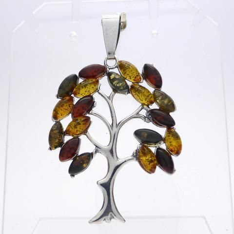 Genuine Baltic Amber Tree Pendant | 925 Sterling Silver | Starstone for Leo | Luck Prosperity Health | Crystal Heart Melbourne Australia since 1986