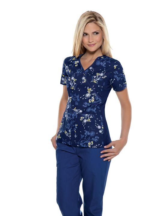 """Darling Dandelions"" Women's Mock Wrap Knit Panel Top | #printscrubs | #cherokeescrubs | #nurse #style | #spring #fashion"