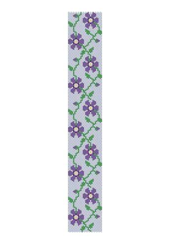 Peyote stitch pattern -purple flower cuff bracelet, PDF file pattern ,Delica seed beads pattern, beadwork. $4.00, via Etsy.