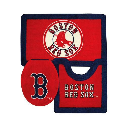 would look great in bathroom boston red sox 3 piece bath rug set mlb - Boston Red Sox Bath Accessories