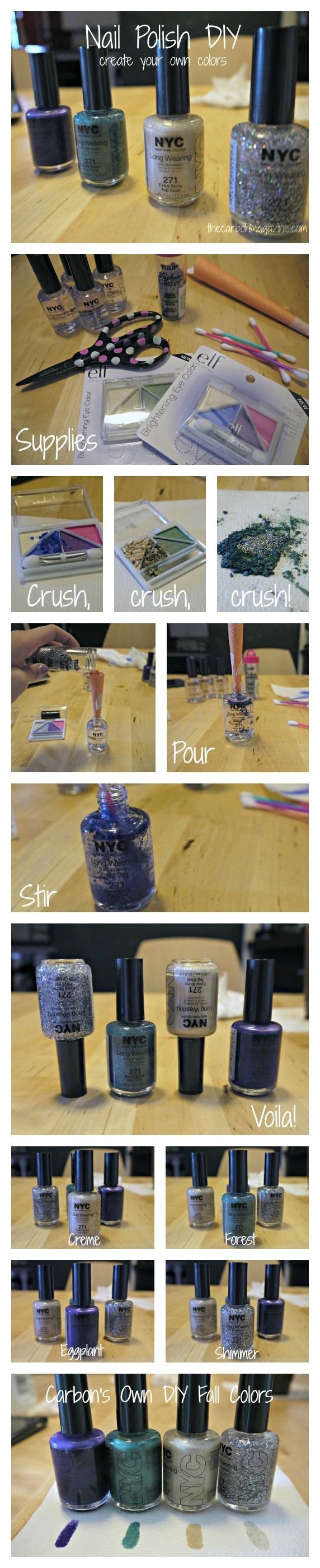 Turn your old eyeshadow to nail polish! Such a fun and easy DIY to do. Can create custom colors by this method too!