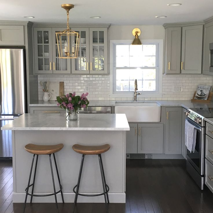 Gray Kitchen Cabinets With Lewis Dolan Brass Bar Pulls   Transitional    Kitchen Gray Kitchen Features Gray Shaker Cabinets Adorned With Brass Pulls  By Lewis ...