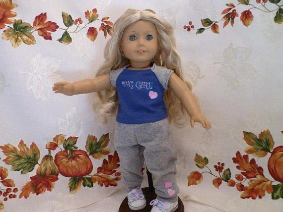 18 Inch Doll AG Girl Baseball Tee Shirt and Warm Up Pants