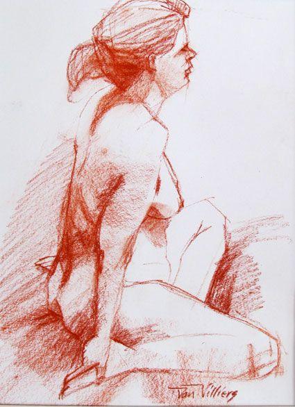 'Lena' conte sketch by Dan Villiers