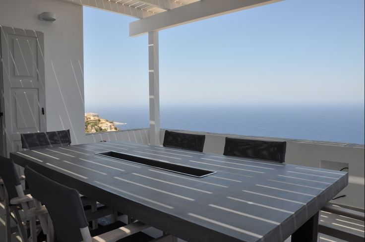 Outdoor dining table,concrete, Greek style, Summer dining