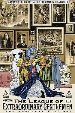 The League of Extraordinary Gentlemen vol 1 & vol 2 by Alan Moore, Kevin O'Neil Illustrator    Like fan fiction from popular Victorian novels Captain Nemo, the invisible Man, Dr. Jekyll and Mr. Hyde,  Allan Quatermain, Mina Murray, John Carter and other well known characters form a type of Victorian era justice league.