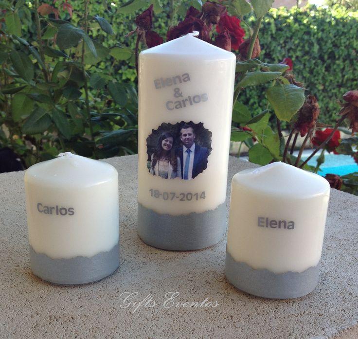 Velas ceremonia de la luz o de la unidad. Velas para bodas velas personalizadas. www.giftseventos.es