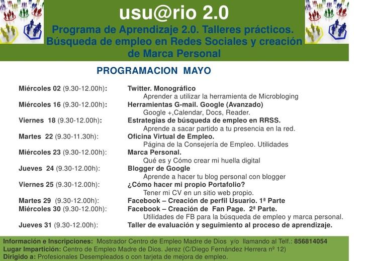 Programación mayo. Proyecto formativo: usu@rio 2.0   /  Empleo 2.0