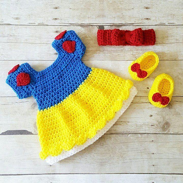 02f134552469 Crochet Baby Snow White Inspired Dress Bow Headband Shoes Set Costume Dress  Up Handmade Disney Inspired Baby Shower Gift Photography Photo Prop
