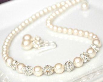Wedding Jewelry SET Pearl Wedding Jewelry SET by somethingjeweled