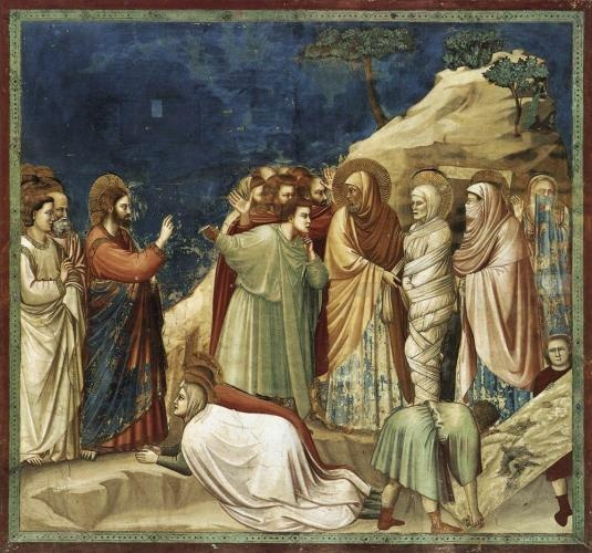 Giotto di Bondone  MARRIAGE AT CANA, RAISING OF LAZARUS, LAMENTATION, AND RESURRECTION/ NOLI ME TANGERE  North wall of Scrovegni (Arena) Chapel, Padua. 1305-1306. Fresco, each scene approx. 6'5X6'.  -  - embodies new Franciscan emphasis on personal decotion rooted in empathetic responses to religious/sacred stories,while also for the direct emotional appeal helps viewers imagine scene in relation to own life experiences.